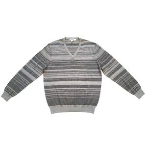 Calvin Klein Gray Striped Wool Blend Vneck Sweater